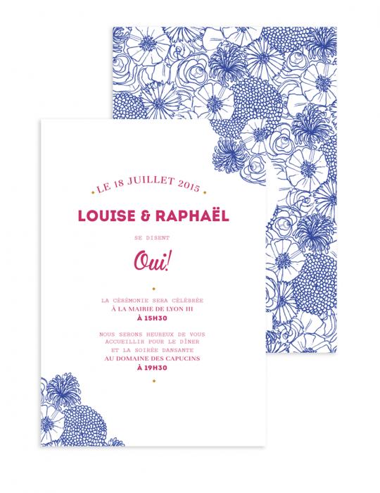 Faire Part mariage Collection La Bohème bleu - Septembre Papeterie