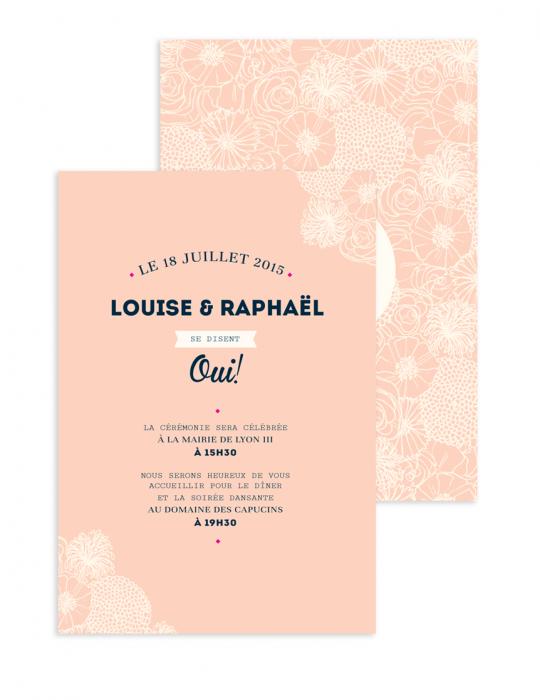 Faire Part mariage Collection La Bohème pêche - Septembre Papeterie