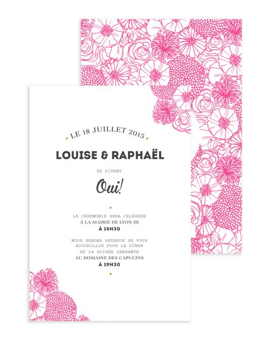 Faire Part mariage Collection La Bohème rose - Septembre Papeterie