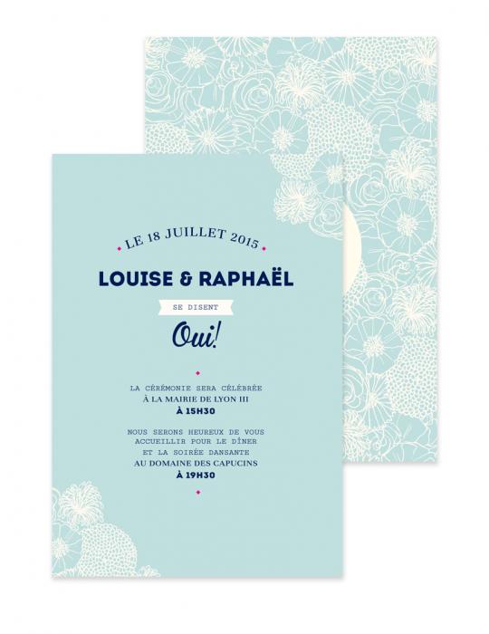 Faire Part mariage Collection La Bohème Dessin fleurs bohème Septembre Papeterie Graphiste Faire part & Carterie