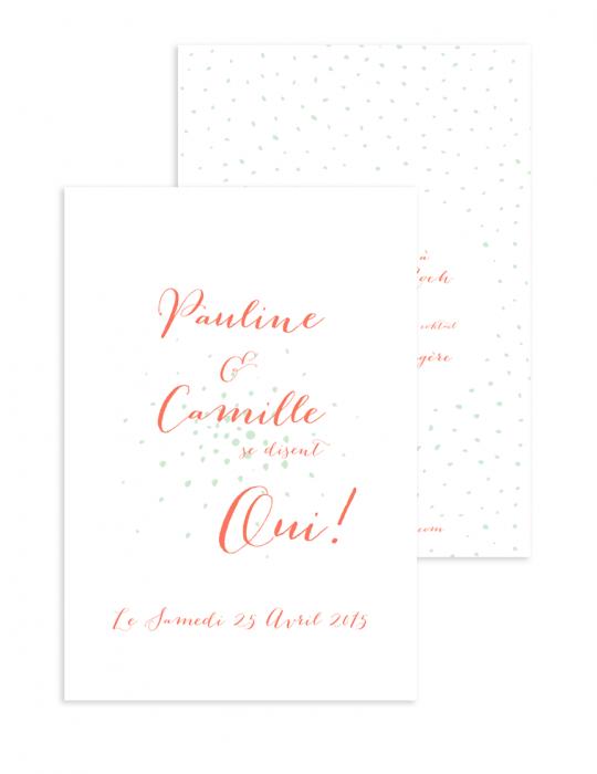 Faire part mariage Collection Firework corail - Septembre Papeterie