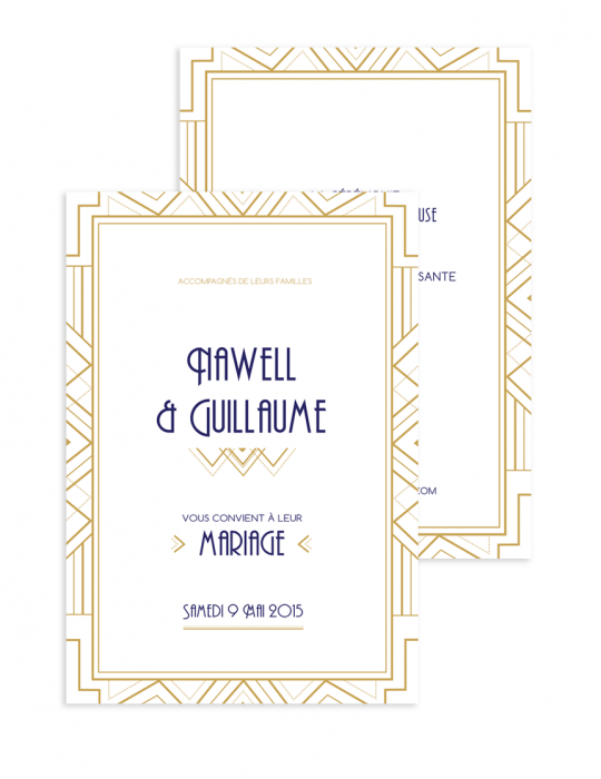 Faire part Collection Gatsby Art nouveau - Retro Septembre Papeterie Graphiste faire part & carterie