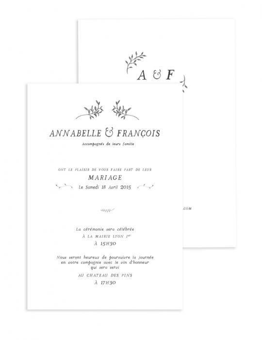Faire Part mariage Collection Brindille crayon - Septembre Papeterie