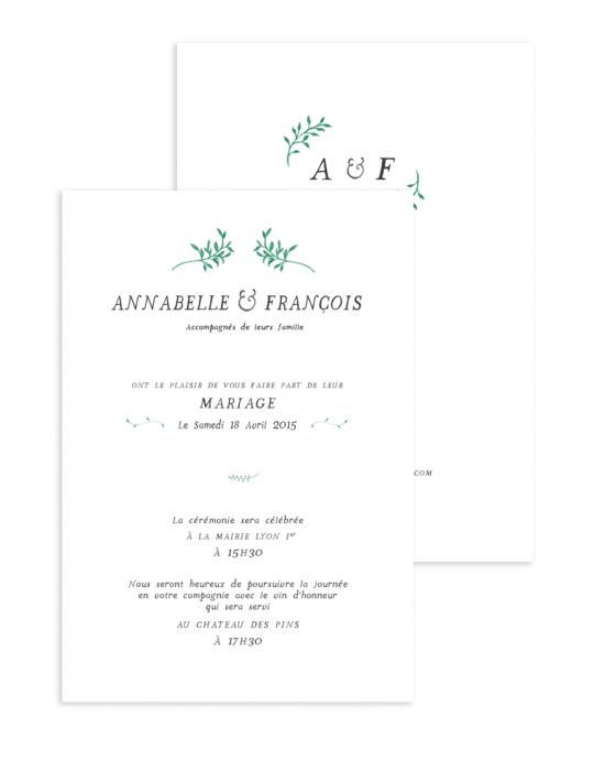 Faire part mariage Collection Brindille vert - Septembre Papeterie