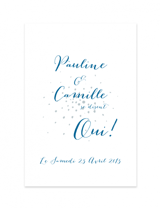 Recto faire part mariage Collection Firework bleu - Septembre Papeterie