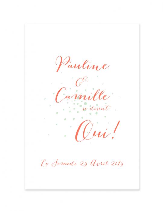 Recto faire part mariage Collection Firework corail - Septembre Papeterie
