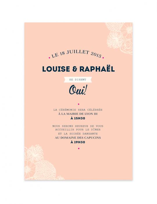 Recto faire Part mariage Collection La Bohème pêche - Septembre Papeterie
