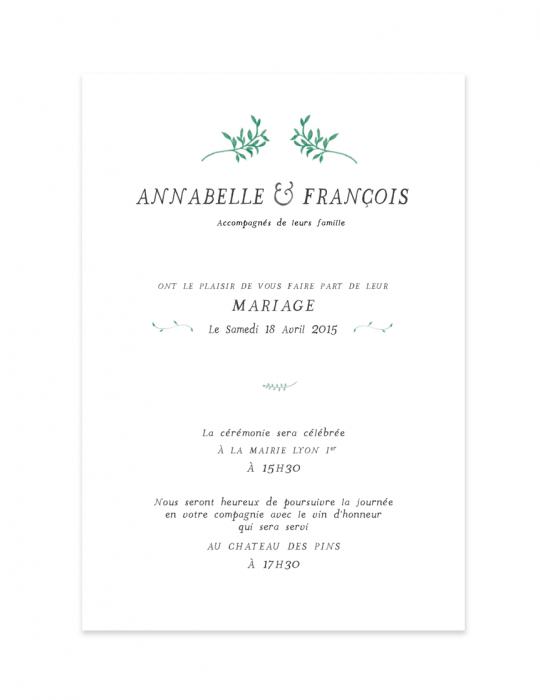 Recto faire part mariage Collection Brindille vert - Septembre Papeterie