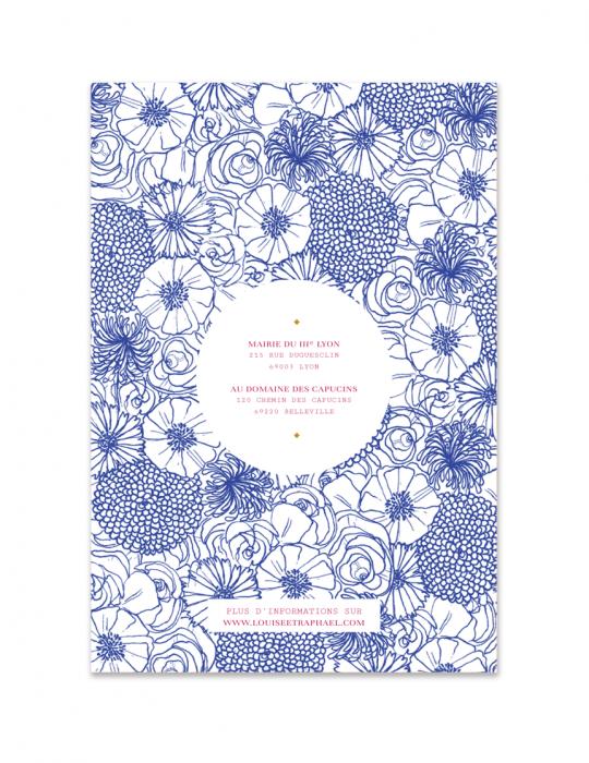 Verso faire Part mariage Collection La Bohème bleu - Septembre Papeterie