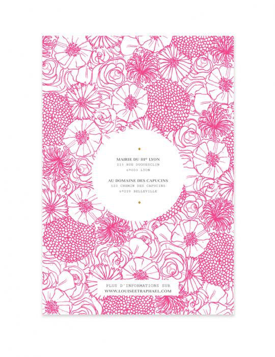 Recto faire Part mariage Collection La Bohème rose - Septembre Papeterie