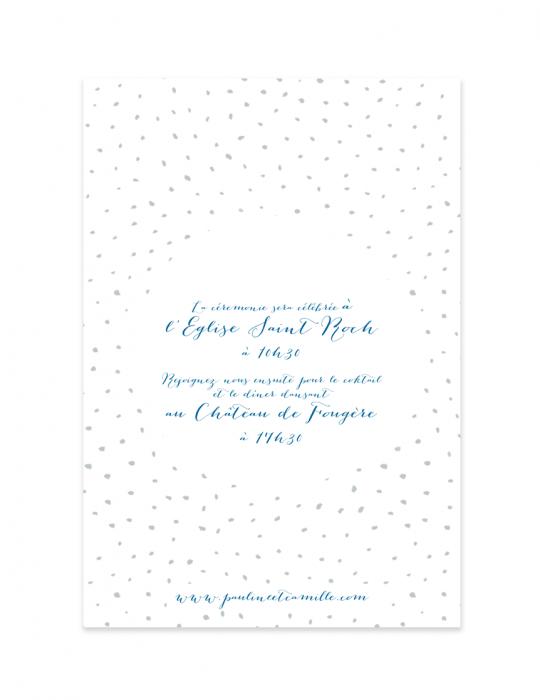 Verso faire part mariage Collection Firework bleu - Septembre Papeterie