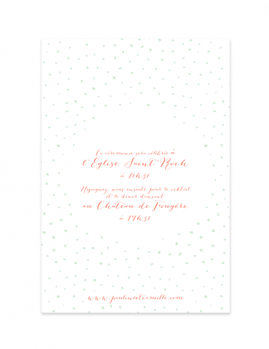 Verso faire part mariage Collection Firework corail - Septembre Papeterie