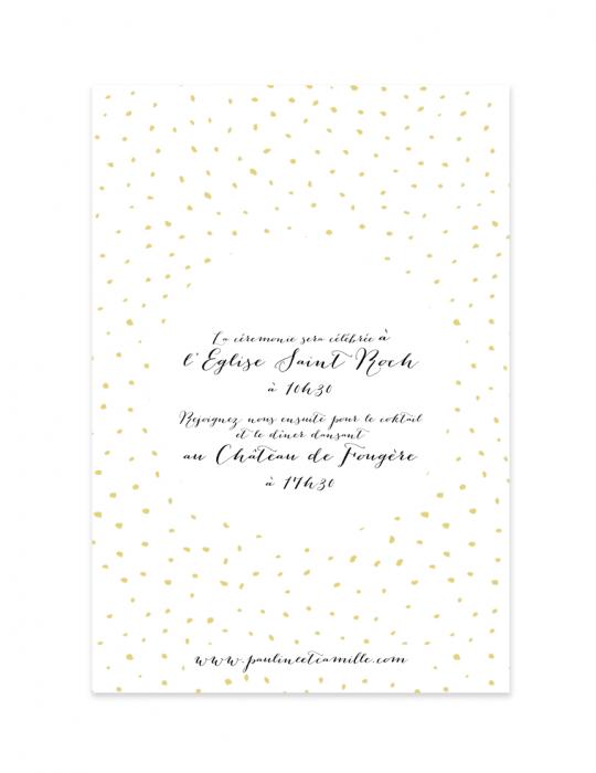 Verso faire part mariage Collection Firework noir - Septembre Papeterie