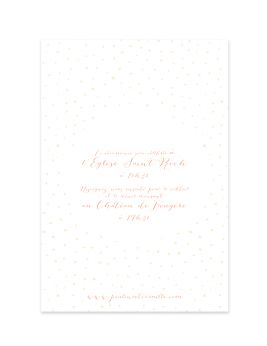 Verso faire part mariage Collection Firework nude - Septembre Papeterie