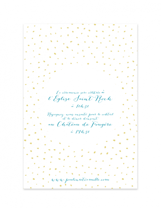 Verso faire part mariage Collection Firework turquoise - Septembre Papeterie
