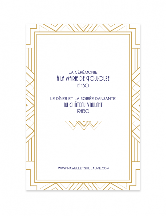 Verso faire part mariage Collection Gatsby - Septembre Papeterie