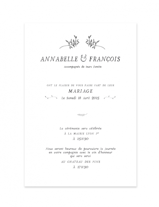 Recto faire Part mariage Collection Brindille crayon - Septembre Papeterie