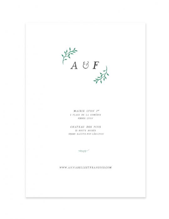 Verso faire part mariage Collection Brindille vert - Septembre Papeterie