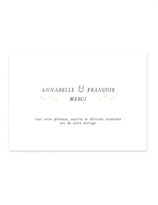 Verso carte remerciement mariage Collection Brindille ocre - Septembre Papeterie