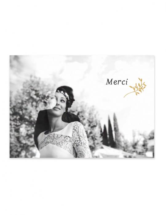 Recto carte remerciement mariage Collection Brindille ocre - Septembre Papeterie