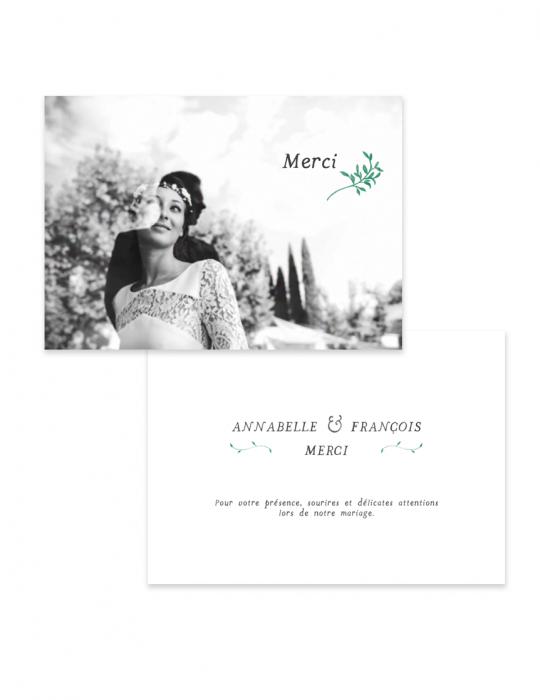 Carte remerciement mariage Collection Brindille vert - Septembre Papeterie