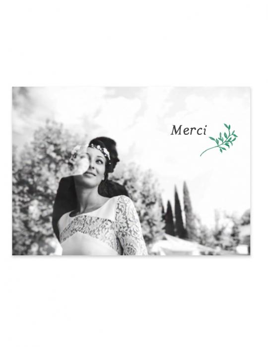 Recto carte remerciement mariage Collection Brindille vert - Septembre Papeterie