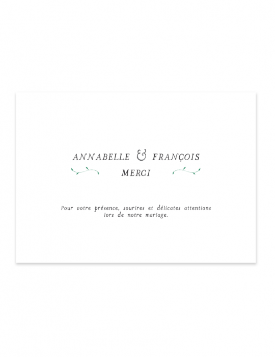 Verso carte remerciement mariage Collection Brindille vert - Septembre Papeterie