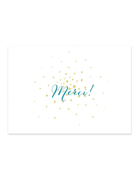 Carte de remerciement collection Firework turquoise illustration - pois Septembre Papeterie studio création graphique
