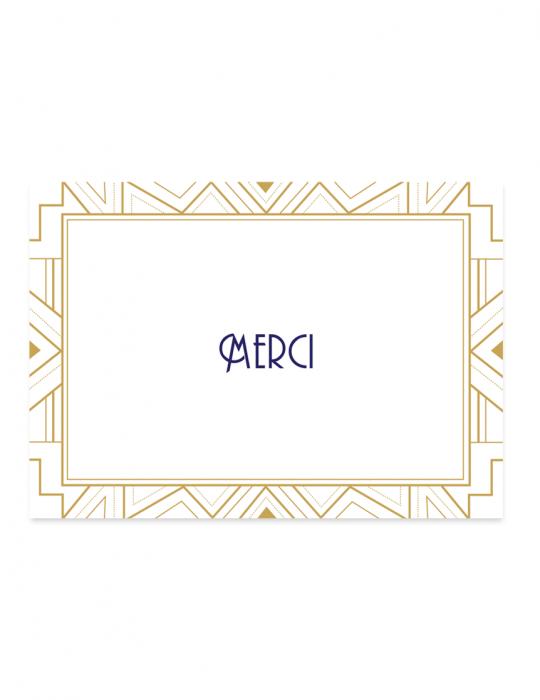 Carte de remerciement collection Gatsby Retro / art nouveau Septembre Papeterie studio création graphique