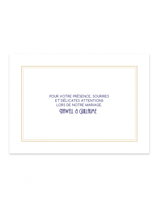 Carte remerciement mariage Collection Gatsby - Septembre Papeterie