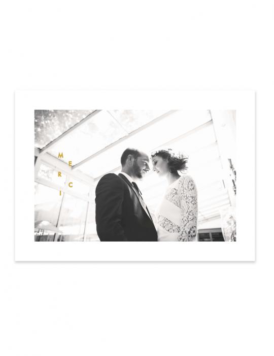 Carte de remerciement mariage collection Riviera ocre Graphique Septembre Papeterie studio création graphique