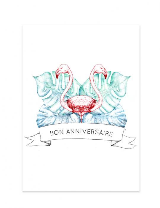 Carte anniversaire flamant rose - Septembre Papeterie