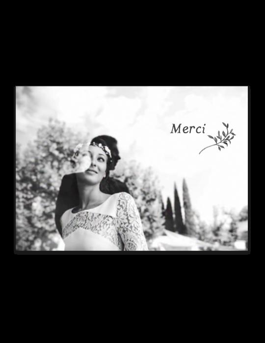 Recto carte remerciement mariage Collection Brindille crayon