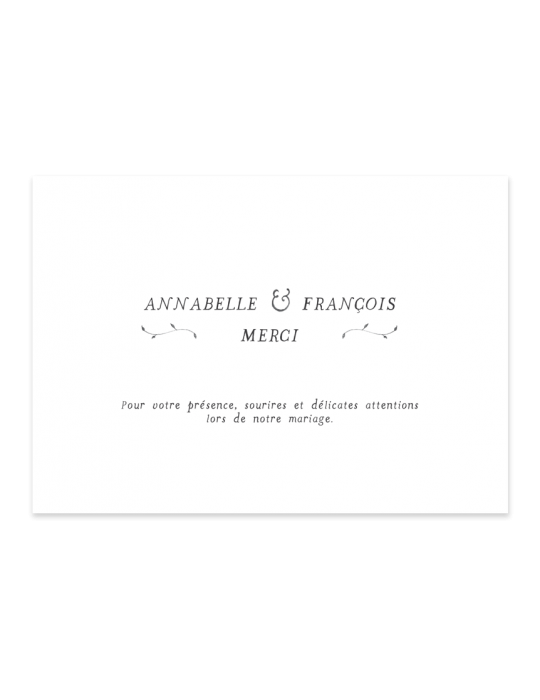 Verso Carte remerciement mariage Collection Brindille