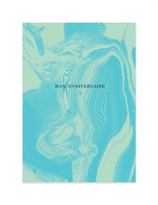 Carte anniversaire collection Abysse bleu Septembre Papeterie studio création graphique