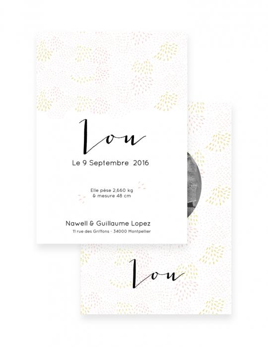 Faire-Part-Naissance-Collection-Moqaïque-rose-Septembre-Papeterie