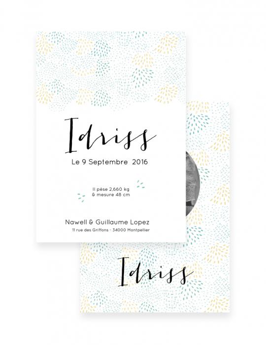 Faire-Part-Naissance-Collection-Moqaïque-vert-d'eau-Septembre-Papeterie