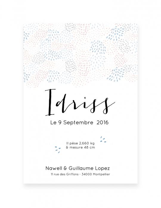 Recto-faire-Part-Naissance-Collection-Mosaïque-bleu-Septembre-Papeterie