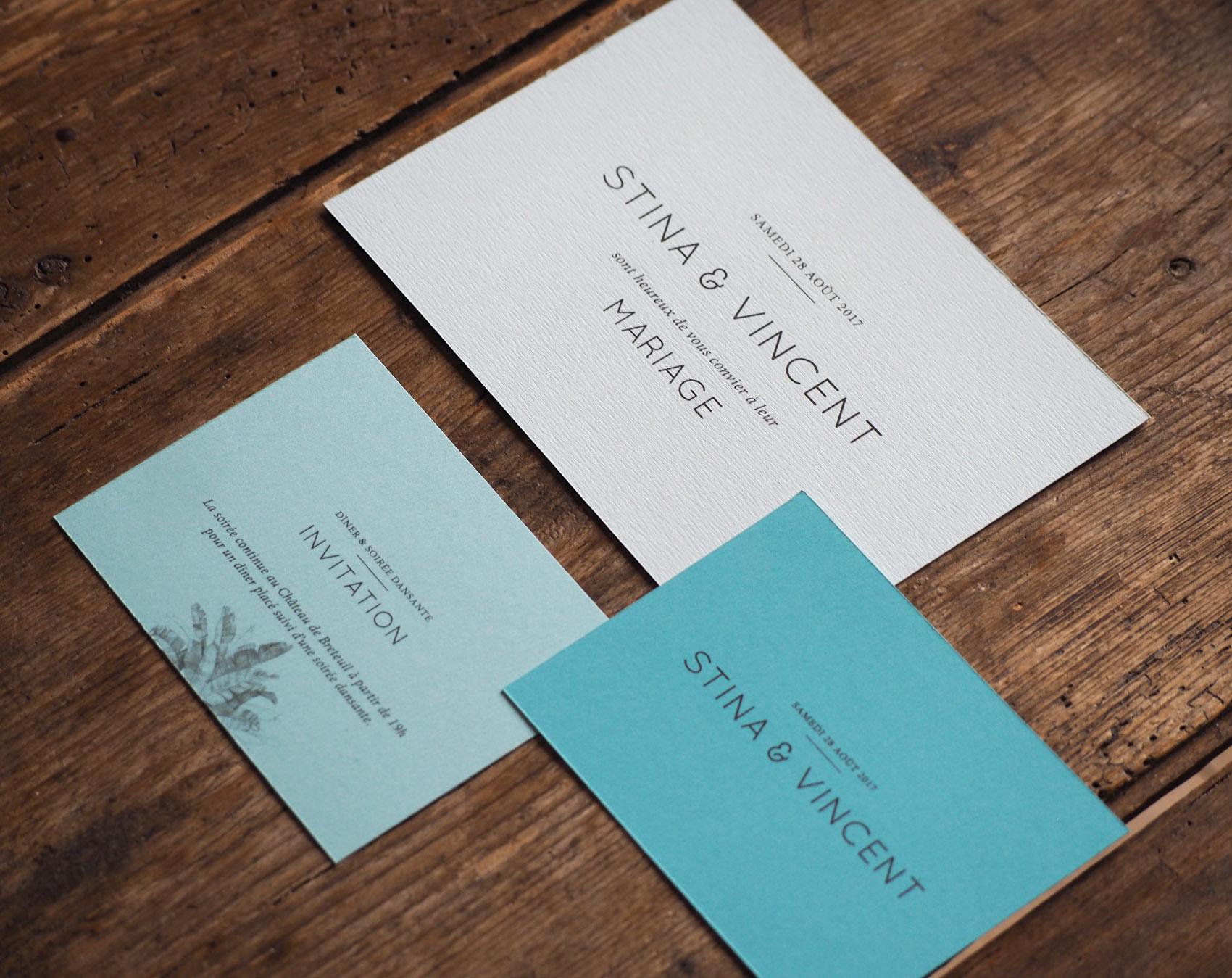 Septembre Papeterie collection graphique faire part mariage Palmeraie bleu
